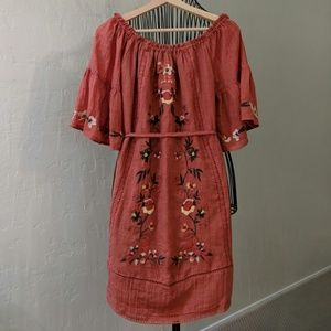 NEW Spool 72 Off-the-Shoulder Embroidered Dress